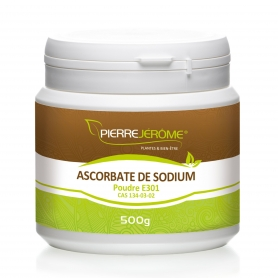 Ascorbate de Sodium en pot en poudre PEHD inviolable de 500g le lot de 3
